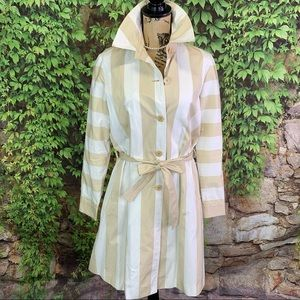 RARE LAHSSAN FOR FACONNABLE Striped Trench Coat, 6
